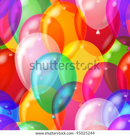 Balloons seamless pattern background, beautiful colorful illustration, eps10, contains transparencies. Vector - stock vector