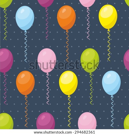 Balloons seamless pattern dark background - stock vector