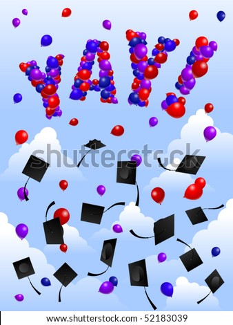 Balloons spell YAY! at a graduation ceremony - stock vector