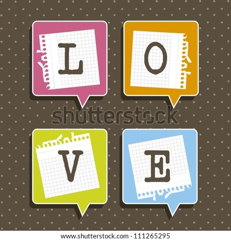 balloons text with paper notebook, love. vector illustration - stock vector
