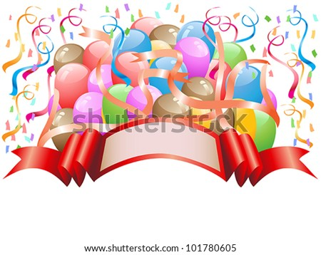 balloons with celebration banner - stock vector