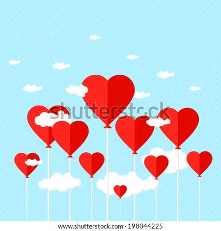 Balloons with heart shaped clouds on blue striped background. vector illustration - stock vector
