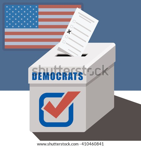 ballot box democrats  - stock vector