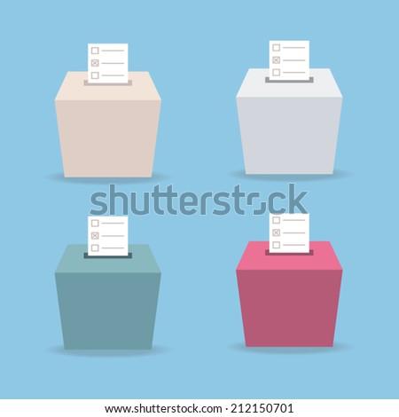 ballot box vote 4 color, flat design, vector - stock vector