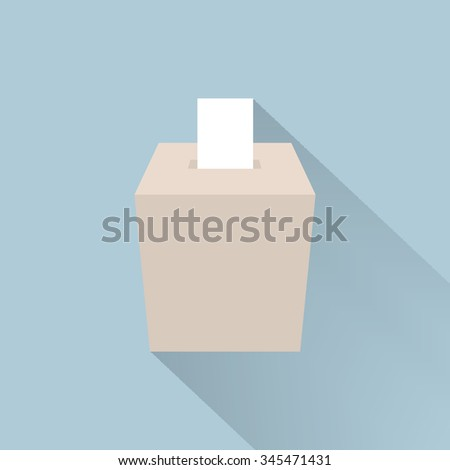ballot box vote, flat design, vector - stock vector