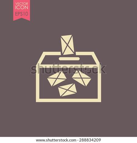 Ballot box vote, vector icon. - stock vector
