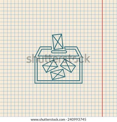Ballot box vote, vector icon. Contour icon - stock vector