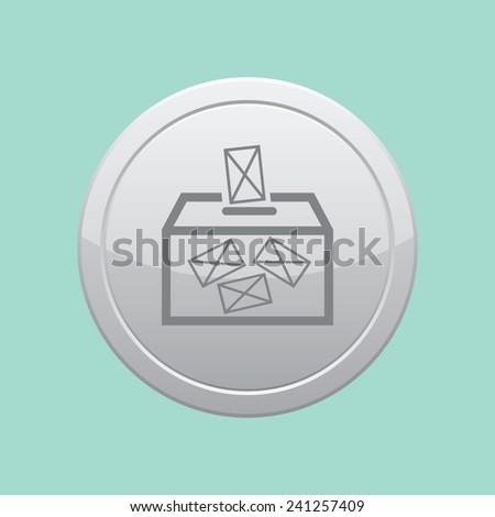 Ballot box vote,vector icon. Gray round button. - stock vector