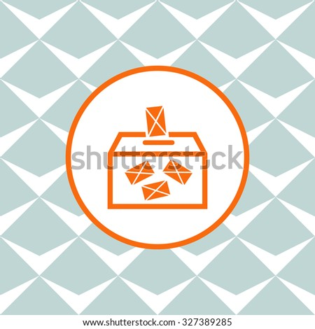 Ballot box vote,vector icon. Seamless background with geometric design. - stock vector