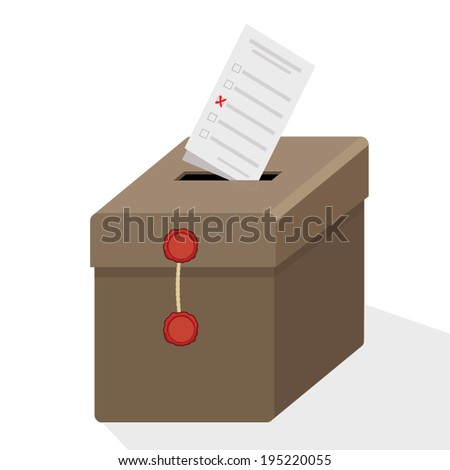 ballot box with ballot paper - stock vector