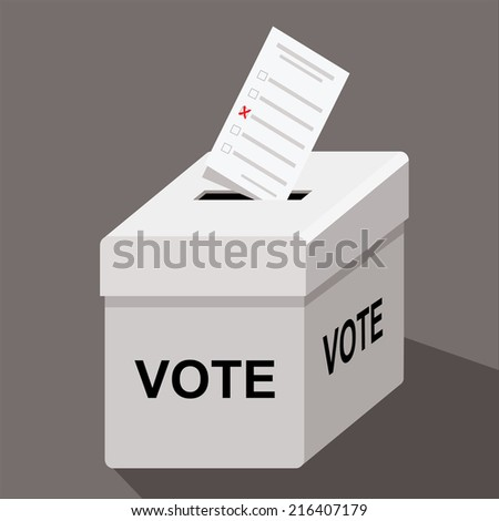 ballot box with ballot paper and word vote - stock vector