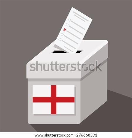 ballot box with flag of england  - stock vector