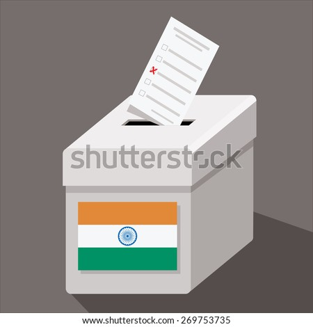 ballot box with flag of india  - stock vector