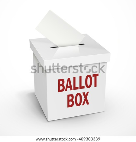 ballot box words on the 3d illustration white voting box isolated on white background - stock vector