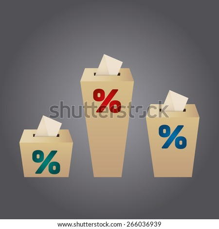 Ballot Boxes for an election. Percent Boxes on the gray background - stock vector