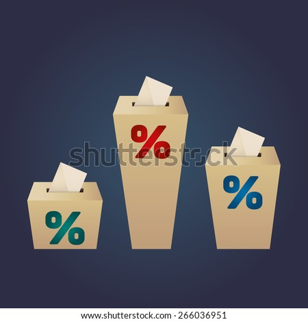 Ballot Boxes for an election. Percent Boxes on the navy background - stock vector