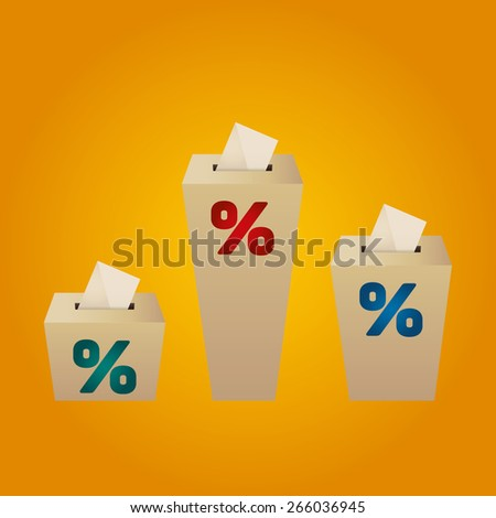 Ballot Boxes for an election. Percent Boxes on the yellow background - stock vector