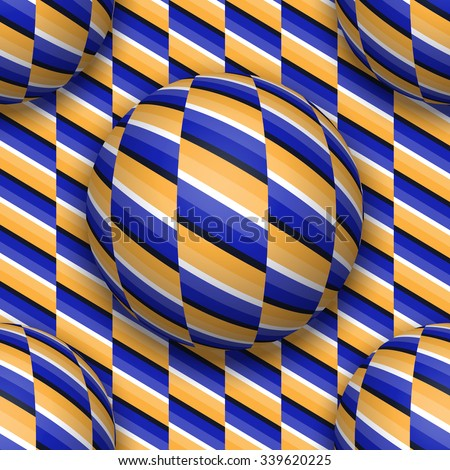 Balls moving upwards. Abstract vector repeatable pattern with optical illusion of movement. - stock vector