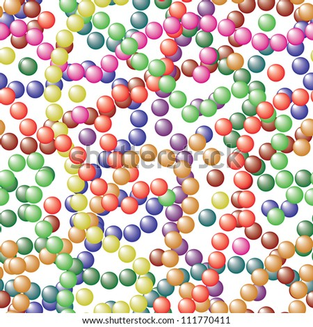 Balls of different colors on a white background - a simple seamless vector texture - stock vector