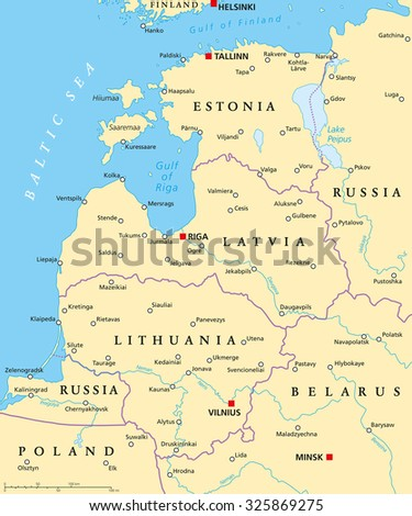 Central europe political map capitals national stock vector baltic countries political map baltic states area with capitals national borders important cities gumiabroncs Gallery