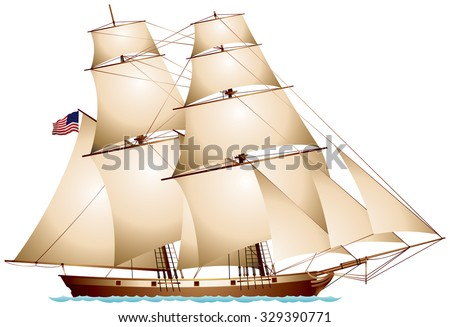 Baltimore Clipper American Flag Sailboat realistic vector illustration