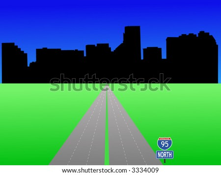 Baltimore Maryland skyline with interstate 95 illustration