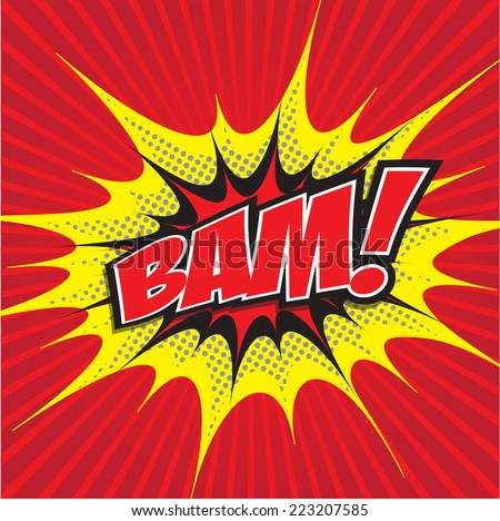 BAM! wording sound effect set design for comic background, comic strip - stock vector