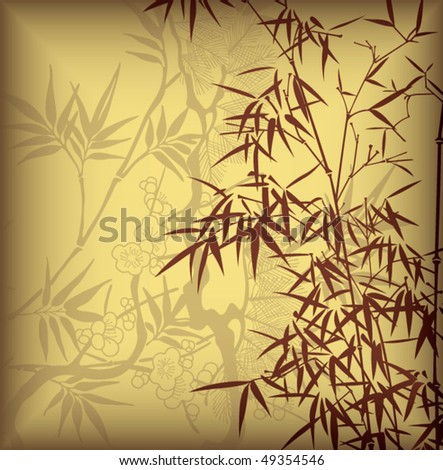 Bamboo and Blossom 1 - stock vector