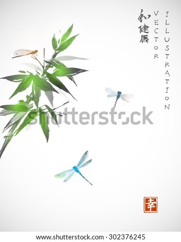 """Bamboo and dragonflies. Contains hieroglyphs """"harmony"""", """"health"""", """"happiness"""". - stock vector"""