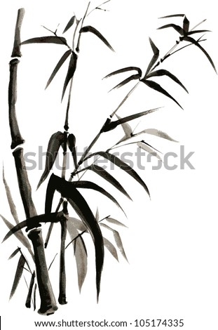 Bamboo branches isolated on the white background. Vectorization watercolor painting. - stock vector