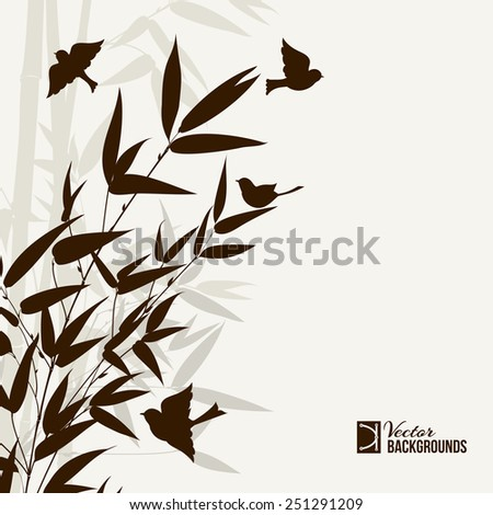 Bamboo bush with birds, ink painting over gray background. Vector illustration. - stock vector