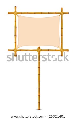 Bamboo Frame with Cloth Sign. Isolated on white. Vector illustration banner