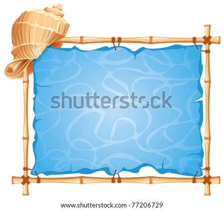 Bamboo Frame with seashell. Detailed vector picture. - stock vector