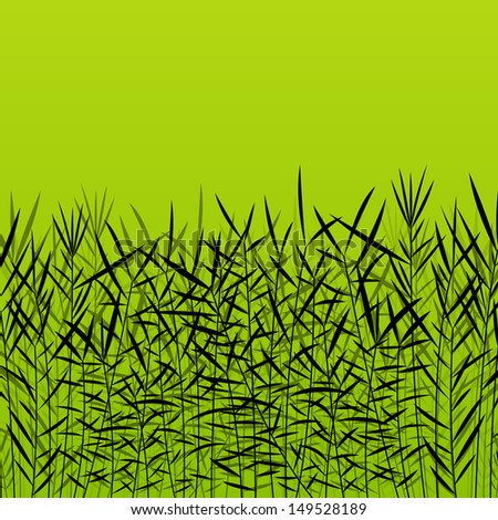 Bamboo, grass, reed and wild plants detailed silhouettes illustration background vector - stock vector