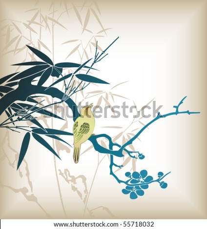 Bamboo Leaf and Bird 4 - stock vector