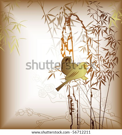 Bamboo Leaf and Birds 1 - stock vector