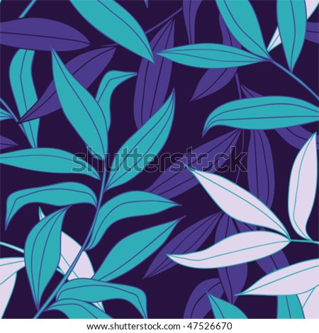 Bamboo leaves seamless vector pattern in cold color palette - stock vector