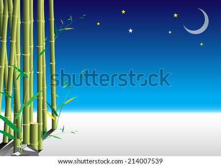 Bamboo night scene with snow background. vector illustration - stock vector