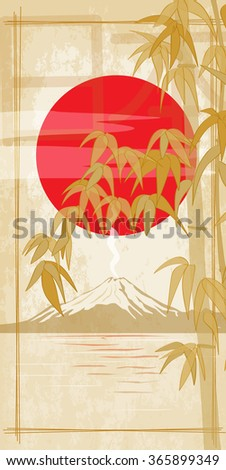 Bamboo on the background of the sun and Mount Fuji