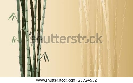 bamboo on yellow background for a letter or to write your own text