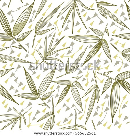 Bamboo seamless pattern. Fashion trend print. Leaves and stems of bamboo. Tropical plants.