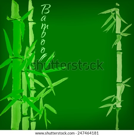 Bamboo sumi-e ink painted card design template green spring - stock vector