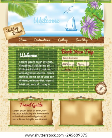 Bamboo Travel Template - stock vector