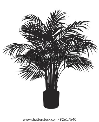 Bamboo tree silhouette. Vector illustration - stock vector