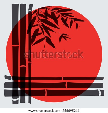 Bamboo trees and leaves with red sun on white background. Vector illustration. - stock vector