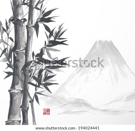 Bamboo trees and mountain, hand-drawn with ink in traditional Japanese style sumi-e. Sealed with decorative red stamp. Vector illustration. - stock vector