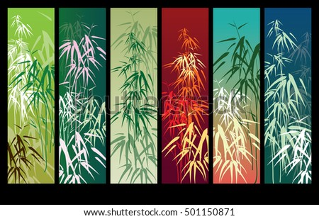 Bamboo vector background banner set