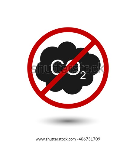 Ban carbon dioxide emissions on a white background. Vector illustration - stock vector