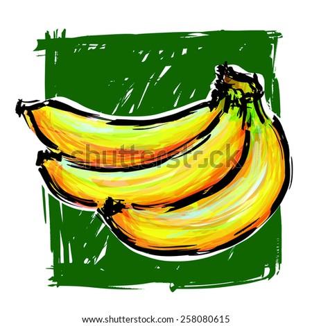 Banana acrylic paint : vector eps.10 - stock vector