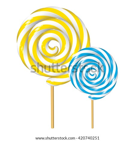 Banana and Peppermint Twisted Lollipops Isolated on White. Yellow and Blue Spiral Candies. Low Poly Realistic Vector illustration. - stock vector